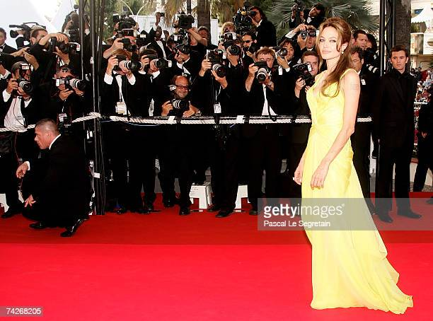 Actress Angelina Jolie attends the premiere for the film 'Ocean's Thirteen' at the Palais des Festivals during the 60th International Cannes Film...