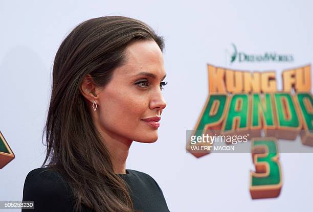 Actress Angelina Jolie attends the Premiere of Kung Fu Panda 3 in Hollywood California on January 16 2015 MACON
