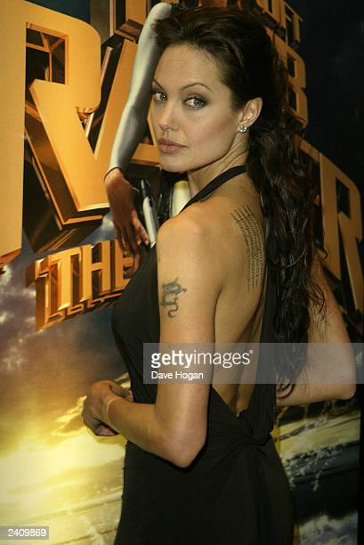 Actress Angelina Jolie attends the premiere of 'Lara Croft Tomb Raider The Cradle of Life' at the Empire Leicester Square on August 19 2003 in London