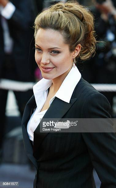 Actress Angelina Jolie attends the Premiere of movie 'Shrek 2' at Le Palais de Festival on May 15 2004 in Cannes France