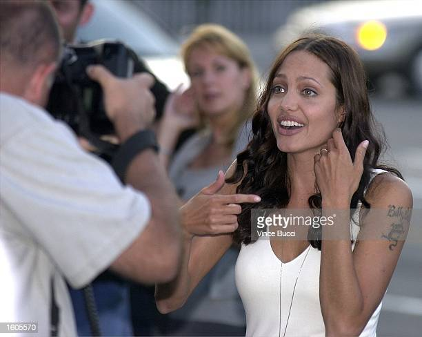 Actress Angelina Jolie attends the premiere of the MGM Pictures'' film Original Sin July 31 2001 in Hollywood CA