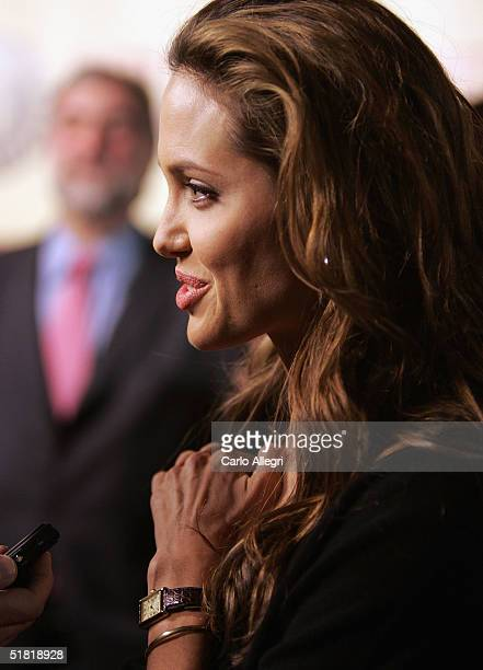 Actress Angelina Jolie attends the premiere of the United Artists film Hotel Rwanda December 2 2004 in Los Angeles California