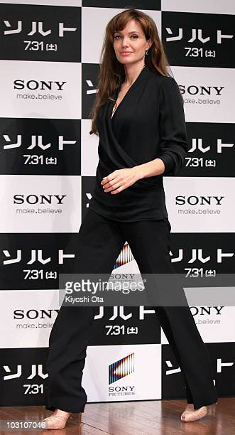 Actress Angelina Jolie attends the 'Salt' press conference at Grand Hyatt Tokyo on July 27 2010 in Tokyo Japan The film will open in Japan on July 31