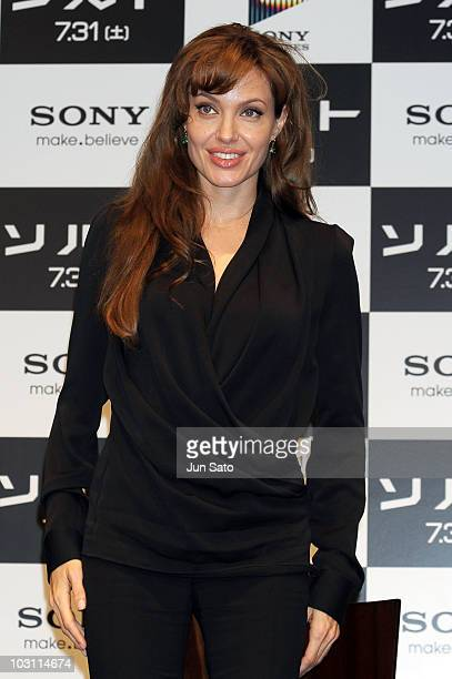 Actress Angelina Jolie attends the Salt press conference at Grand Hyatt Tokyo on July 27 2010 in Tokyo Japan The film will open on July 31 in Japan