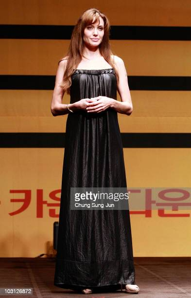 Actress Angelina Jolie attends the Salt press conference at the Shilla Hotel on July 28 2010 in Seoul South Korea The film will open on July 29 in...