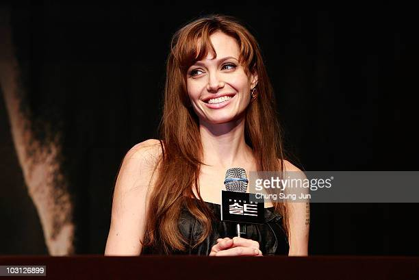 Actress Angelina Jolie attends the 'Salt' press conference at the Shilla Hotel on July 28 2010 in Seoul South Korea The film will open on July 29 in...