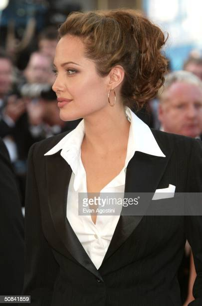 Actress Angelina Jolie attends the screening of the film 'Shrek 2' at the Palais des Festivals during the 57th International Cannes Film Festival May...