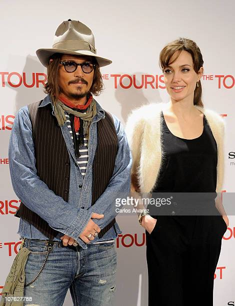 """Actress Angelina Jolie attends """"The Tourist"""" photocall at Villamagna Hotel on December 16, 2010 in Madrid, Spain."""