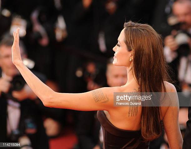 Actress Angelina Jolie attends The Tree Of Life premiere during the 64th Annual Cannes Film Festival at Palais des Festivals on May 16 2011 in Cannes...