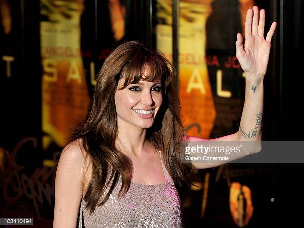 Actress Angelina Jolie attends the UK film premiere of Salt at the Empire Leicester Square on August 16 2010 in London England