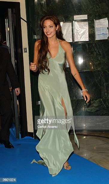 Actress Angelina Jolie attends the world premiere of her new movie 'Beyond Borders' October 15 2003 at Capitol cinema in Madrid Spain