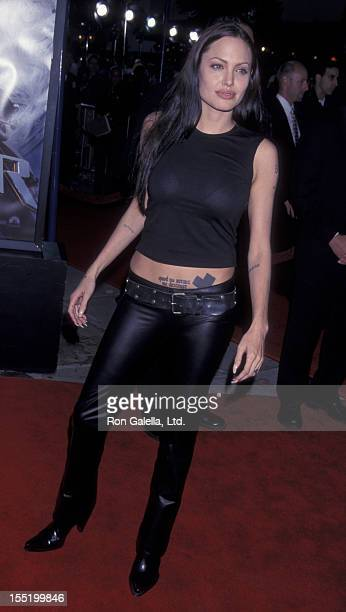 Actress Angelina Jolie attends the world premiere of Lara Croft Tomb Raider on June 11 2001 at Mann Village Theater in Westwood California