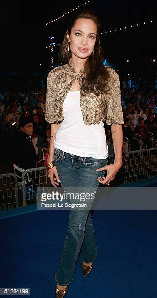 "Actress Angelina Jolie attends the World Premiere of ""Shark Tale"" in San Marco Square, as part of the 61st Venice Film Festival on September 10, 2004..."