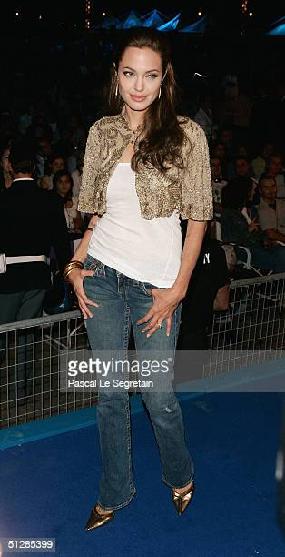 Actress Angelina Jolie attends the World Premiere of 'Shark Tale' in San Marco Square as part of the 61st Venice Film Festival on September 10 2004...