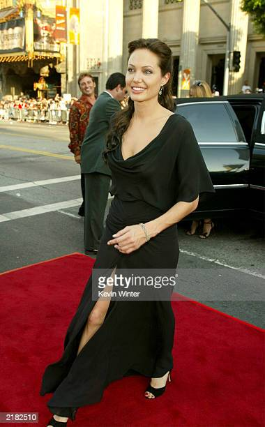 Actress Angelina Jolie attends the world premiere of the film 'Lara Croft Tomb Raider The Cradle of Life' at Grauman's Chinese Theatre July 21 2003...