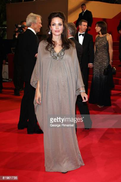 Actress Angelina Jolie departs from the 'Changeling' Premiere at the Palais des Festivals during the 61st Cannes International Film Festival on May...