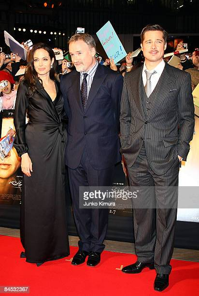 Actress Angelina Jolie director David Fincher and actor Brad Pitt attend 'The Curious Case of Benjamin Button' Japan Premiere at Roppongi Hill on...