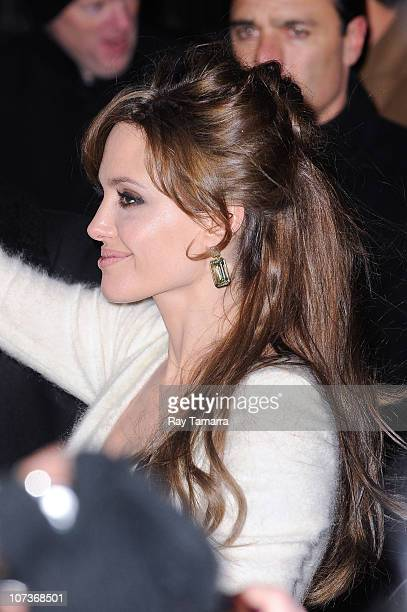 Actress Angelina Jolie enters the Ziegfeld Theater on December 6 2010 in New York City