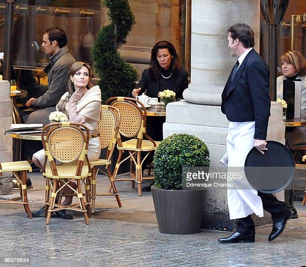 Actress Angelina Jolie films on location for 'The Tourist' at Place Colette on February 23 2010 in Paris France
