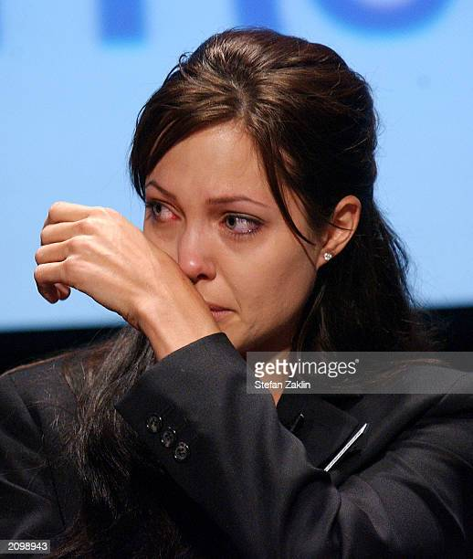 Actress Angelina Jolie Goodwill Ambassador for the United Nations High Commission for Refugees cries during a World Refugee Day ceremony June 20 2003...