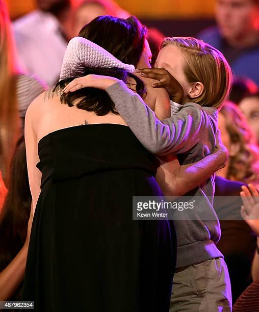 Actress Angelina Jolie hugs Zahara Marley JoliePitt and Shiloh Nouvel JoliePitt during Nickelodeon's 28th Annual Kids' Choice Awards held at The...