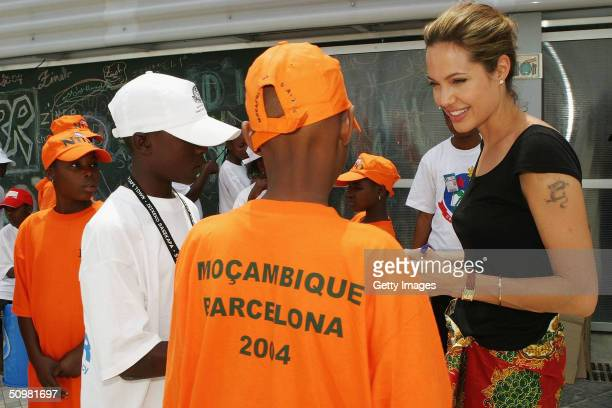 Actress Angelina Jolie in her role as Goodwill Ambassador of the United Nations High Commissioner for Refugees speaks with participants from...