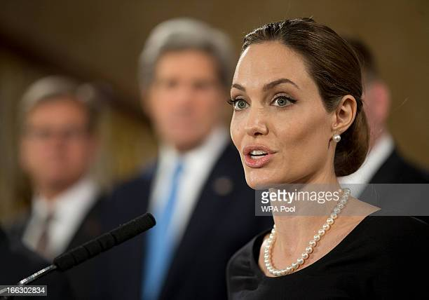 Actress Angelina Jolie in her role as UN envoy talks during a news conference regarding sexual violence against women in conflict at the Foreign...