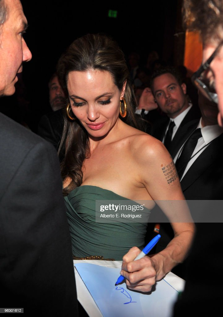 Actress Angelina Jolie in the audience during the 62nd Annual Directors Guild Of America Awards at the Hyatt Regency Century Plaza on January 30, 2010 in Century City, California.