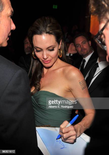 Actress Angelina Jolie in the audience during the 62nd Annual Directors Guild Of America Awards at the Hyatt Regency Century Plaza on January 30 2010...