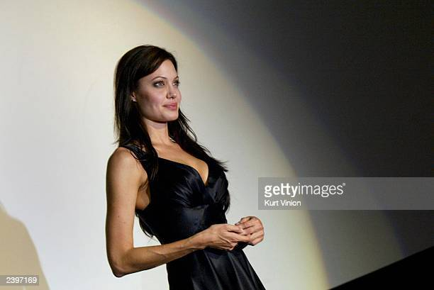 Actress Angelina Jolie is introduced at the premiere of the new film 'Lara Croft Tomb Raider The Cradle of Life' August 13 2003 in Munich Germany