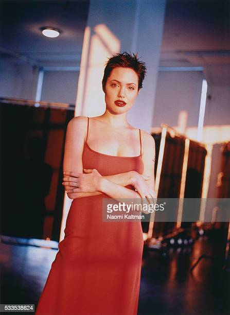 Actress Angelina Jolie is photographed on February 6, 1998.