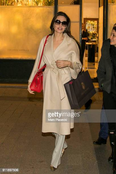 Actress Angelina Jolie is seen leaving the 'Guerlain' store on Champs-Elysees Avenue on January 29, 2018 in Paris, France.