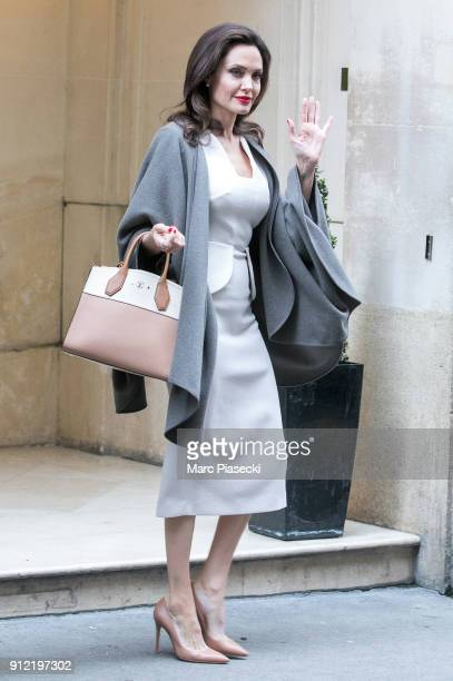 Actress Angelina Jolie is seen leaving the 'Meurice' hotel on January 30 2018 in Paris France