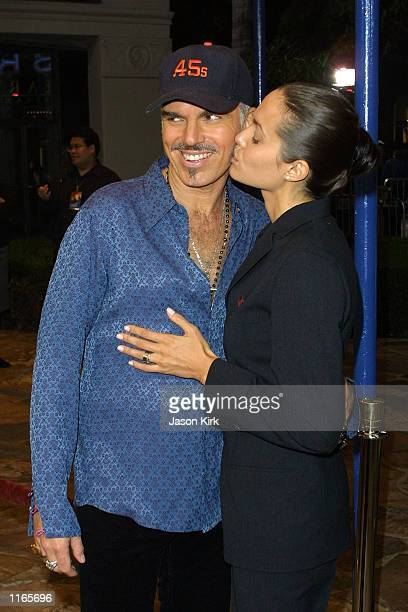 Actress Angelina Jolie kisses her husband actor Billy Bob Thornton at the film premiere of his new movie Bandits October 4 2001 in Westwood CA