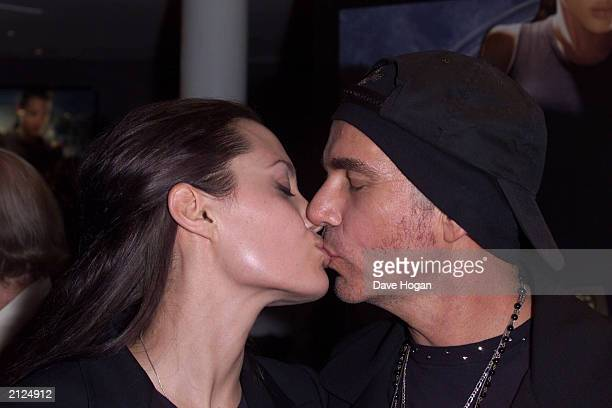 Actress Angelina Jolie kisses husband actor Billy Bob Thornton at the UK premiere of her new film 'Lara Croft Tomb Raider' at the Empire Cinema on...