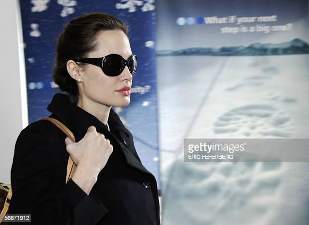 Actress Angelina Jolie leaves Hotel Belvedere in Davos 26 January 2006 UN goodwill ambassador Angelina Jolie is in Davos for the World Economic Forum...