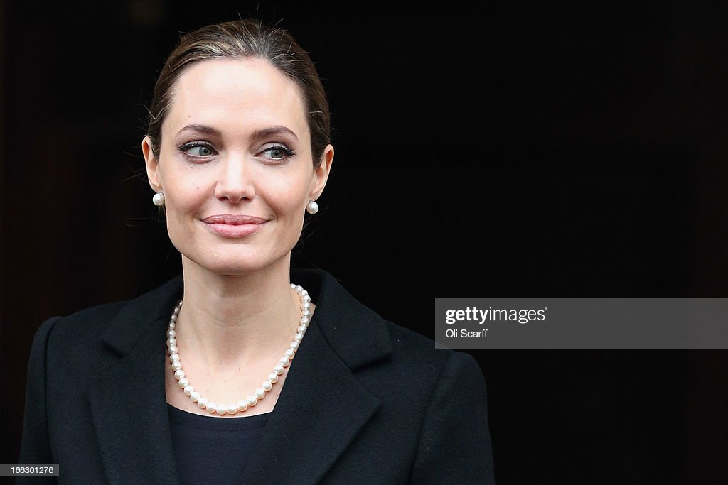 Actress Angelina Jolie leaves Lancaster House after attending the G8 Foreign Minsters' conference on April 11, 2013 in London, England. G8 Foreign Ministers are holding a two day meeting where they will discuss the situation in the Middle East; including Syria and Iran, security and stability across North and West Africa, Democratic People's Republic of Korea and climate change. British Foreign Secretary William Hague will also highlight five key policy priorities.