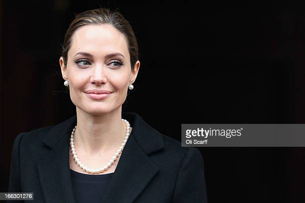 Actress Angelina Jolie leaves Lancaster House after attending the G8 Foreign Minsters' conference on April 11 2013 in London England G8 Foreign...