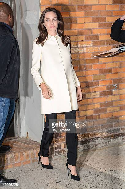 Actress Angelina Jolie leaves the 'Daily Show With Jon Stewart' taping at NEP Studio 52 on December 4 2014 in New York City