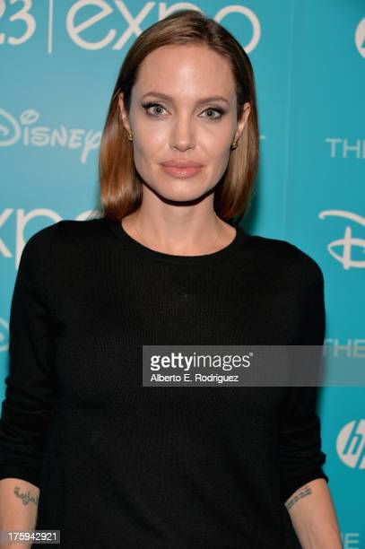 Actress Angelina Jolie of Maleficent attends Let the Adventures Begin Live Action at The Walt Disney Studios presentation at Disney's D23 Expo held...