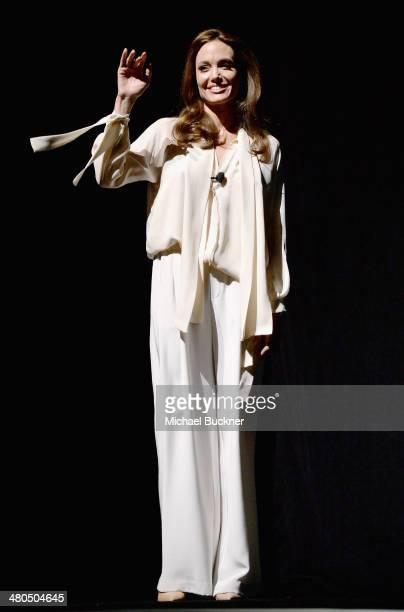 Actress Angelina Jolie onstage during The State of the Industry Past Present and Future and Universal Studios Presentation at The Colosseum at...