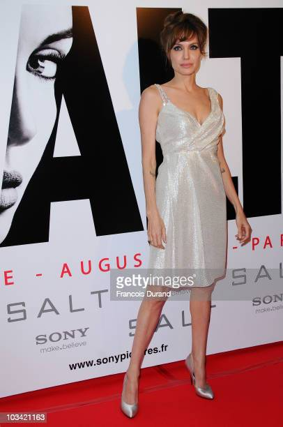 US actress Angelina Jolie poses as she attends the premiere for Salt at Le Grand Rex on August 17 2010 in Paris France