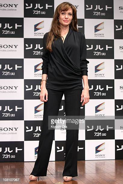 Actress Angelina Jolie poses during the 'Salt' press conference at Grand Hyatt Tokyo on July 27 2010 in Tokyo Japan The film will open in Japan on...