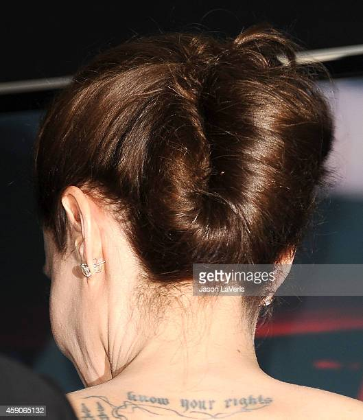 Actress Angelina Jolie poses in the press room at the 18th annual Hollywood Film Awards at Hollywood Palladium on November 14 2014 in Hollywood...