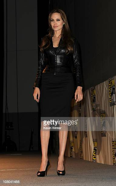 Actress Angelina Jolie poses onstage at the Salt panel during ComicCon 2010 at San Diego Convention Center on July 22 2010 in San Diego California