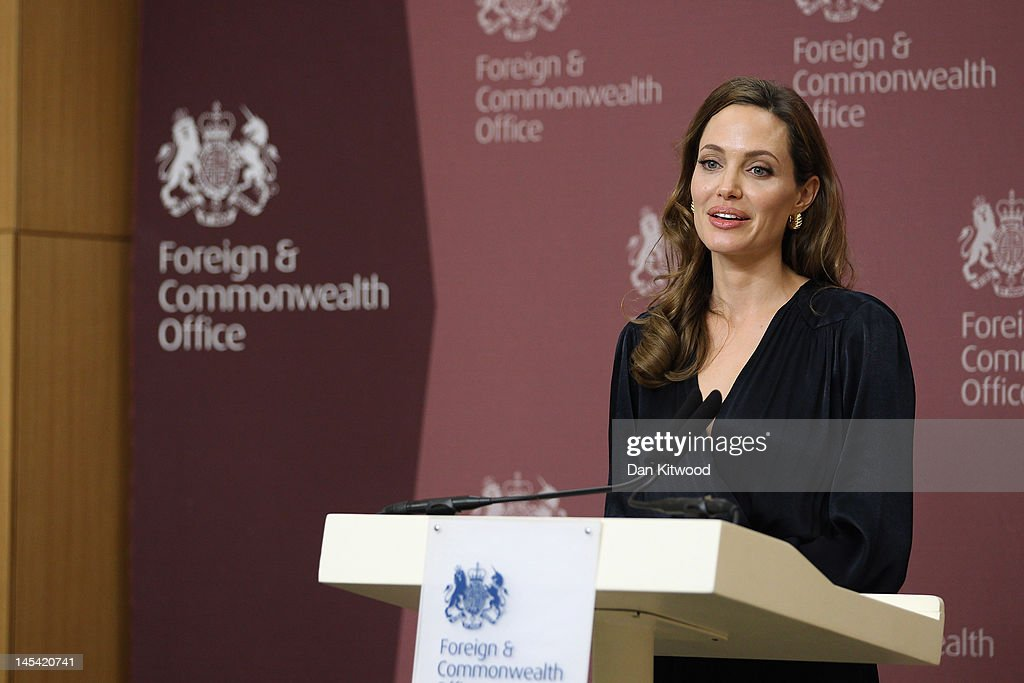 Hollywood Actress Angelina Jolie Attends A Foreign Office Briefing On Preventing Sexual Violence In Conflict : News Photo