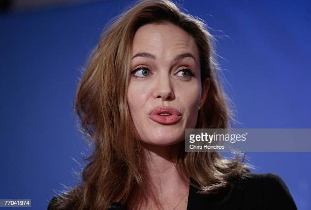 Actress Angelina Jolie speaks at a press conference September 26 2007 at the Clinton Global Initiative annual meeting in New York Jolie discussed her...