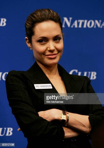 Actress Angelina Jolie speaks at the National Press Club March 8 2005 in Washington DC Jolie answered questions about her work as the Goodwill...