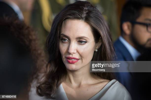Actress Angelina Jolie special envoy to the United Nations High Commissioner for Refugees speaks with an attendee during the 2017 UN Peacekeeping...