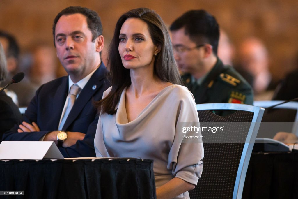 Actress Angelina Jolie, special envoy to the United Nations High Commissioner for Refugees, listens during the 2017 UN Peacekeeping Defence Ministerial conference in Vancouver, British Columbia, Canada, on Wednesday, Nov. 15, 2017. Over 500 delegates from more than 70 countries and international organizations will gather at the upcoming Defence Ministerial to discuss improvements to UN peacekeeping operations and focus on securing new pledges from Member States. Photographer: Ben Nelms/Bloomberg via Getty Images